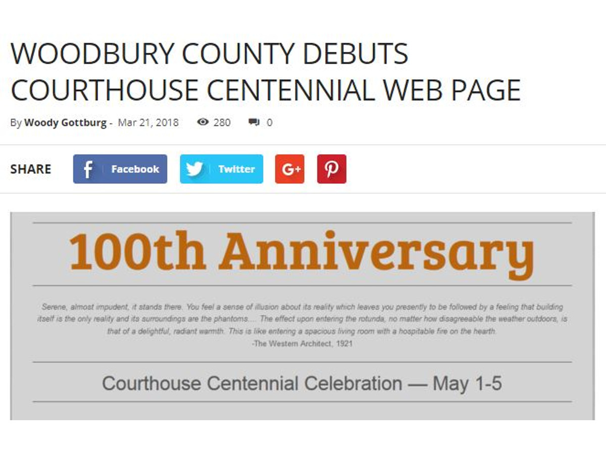 Woodbury County Debuts Courthouse Centennial Web Page