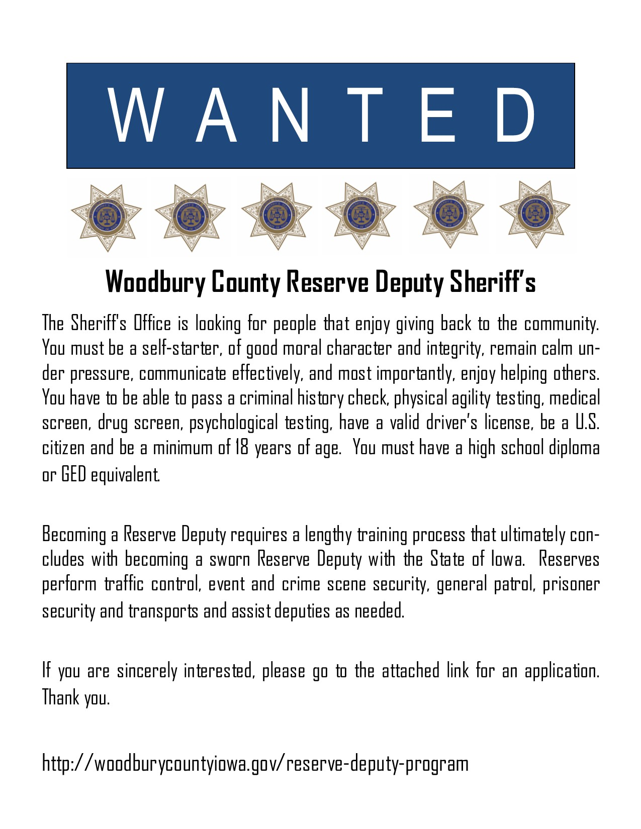 Reserve Deputy Wanted Poster for FB